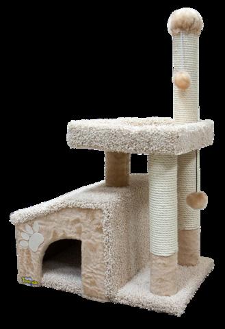 Зооник комплекс для кошек с домом и большой лежанкой, мех одн.+ковролин высоковорсный (64*47*103см)