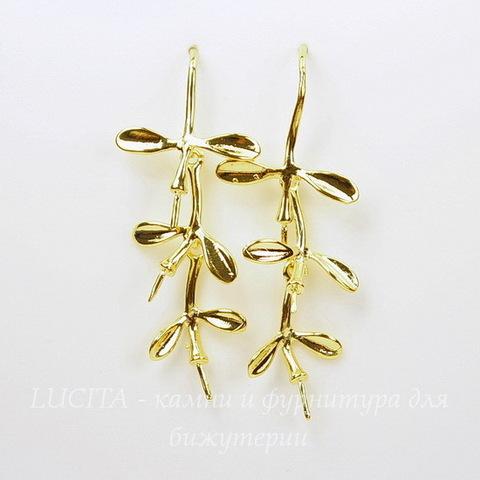 Швензы - крючки с подвеской - веточкой, 41х17 мм (цвет - золото), пара