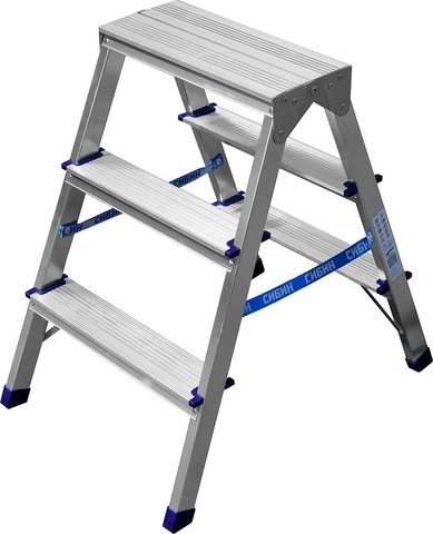 Лестница-стремянка двухсторонняя алюминиевая, СИБИН 38825-03, 3 ступени