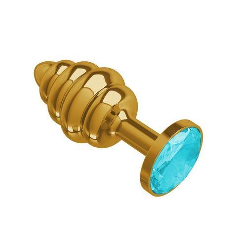 Анальная втулка Gold Spiral с голубым кристаллом маленькая фото