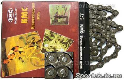 Велосипедная цепь KMC Z51 для 21-24 скоростного велосипеда (7-8 звезд в кассете)