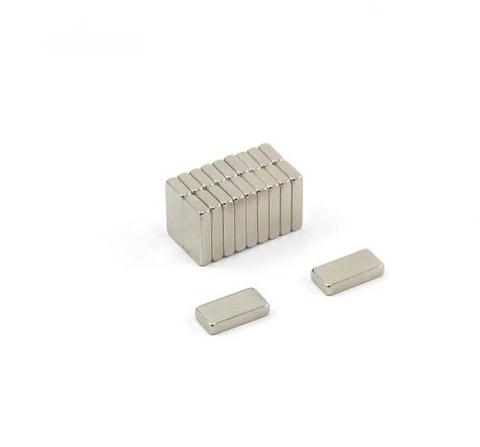 Магнит 10х5х1 мм, N38, никель, неодимовый блок