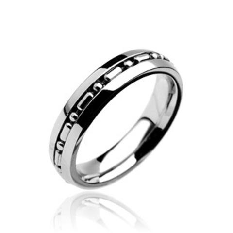 Кольцо парное для влюблённых мужское и женское из нержавеющей ювелирной медицинской хирургической стали 316L с крутящейся серединой цепочкой SPIKES R7061
