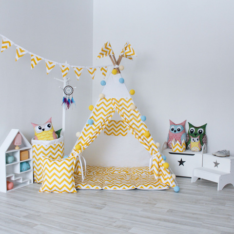 Вигвам Yellow Zigzag Tipi (детский игровой домик, палатка)