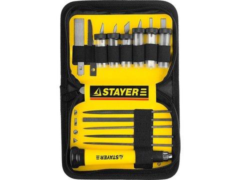 """Набор STAYER Нож """"MASTER"""" для точных работ в комплекте с лезвиями различной формы и надфилями, в чехле,38 предметов"""