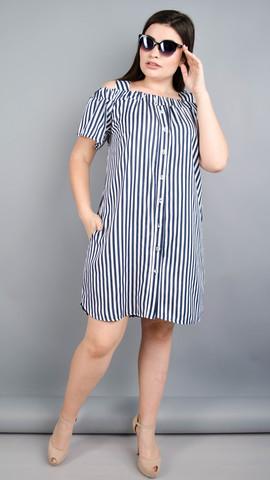Клариса. Гарна сукня-сорочка плюс сайз. Смужка синя.