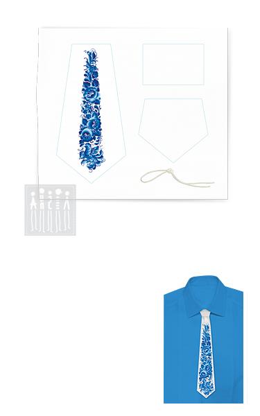 Галстук с Гжельской росписью на белом фоне ( комплект для пошива )
