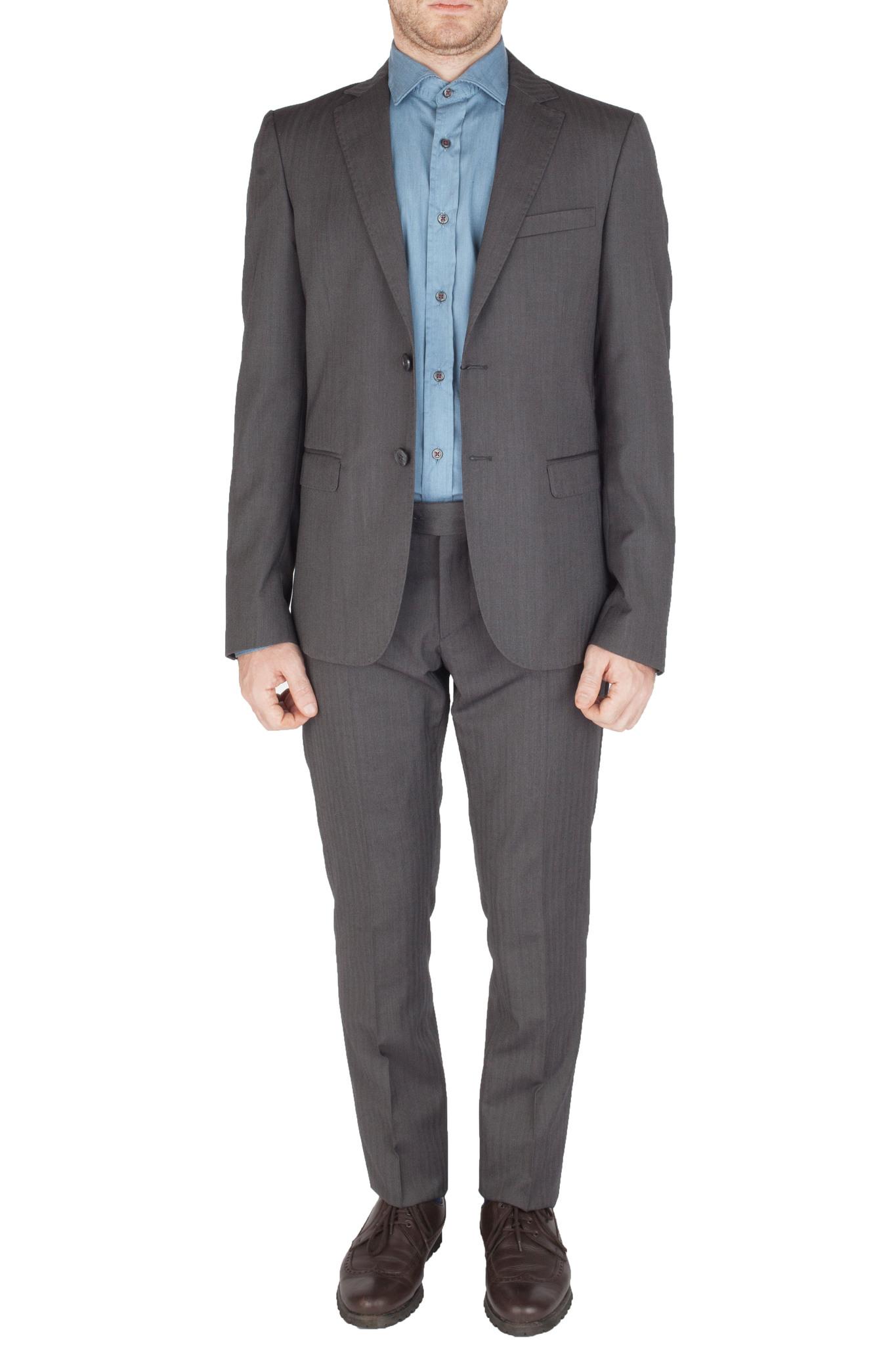Серый шерстяной костюм «в ёлочку»