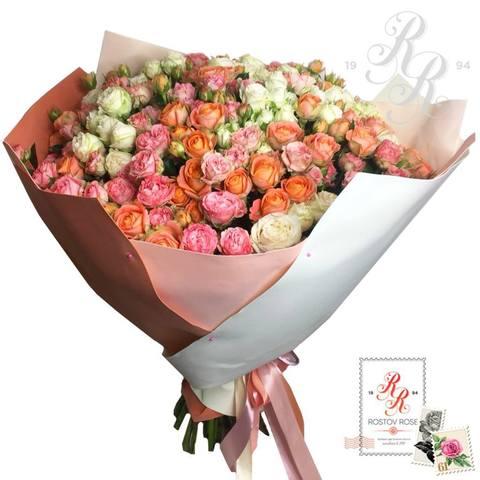 Букет 31 роза МИКС (кустовая - пионовидная)