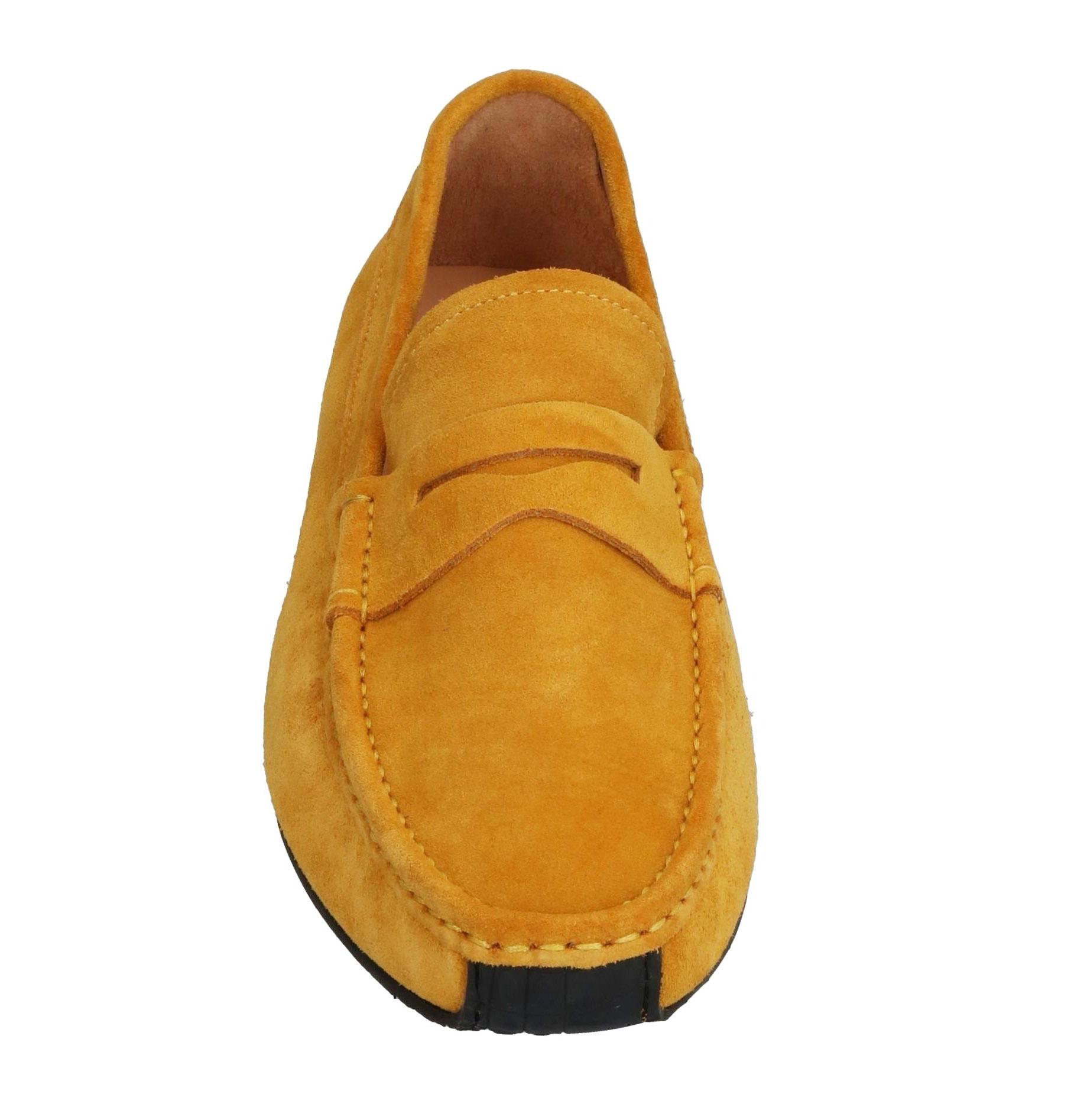 Жёлтые замшевые мокасины на каучуковой подошве Luciano Padovan Made in Italy
