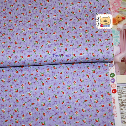 Ткань хлопок Корея 20854 (бутоны на сиреневом) 45х55см