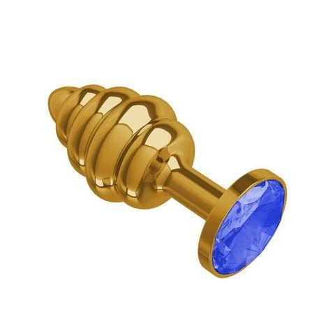 Анальная втулка Gold Spiral с синим кристаллом маленькая