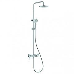 Душевая система внешнего монтажа 156 см со смесителем и изливом на ванну с верхней лейкой 20х20 см Kludi Logo 6808305-00 фото