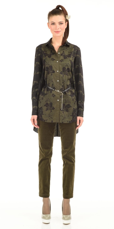 Блуза Г526-168 - Удлиненная блуза оригинального кроя- высокие разрезы по бокам, не раскрываются при ходьбе, за счет глубокого нахлеста со стороны спинки.  Классический отложной воротник, длинные рукава на манжетах. Передние полочки можно заправлять в брюки или юбку, оставляя спинку свободной. Отлично смотрится с лосинами, узкими брюками. Пояс в комплект не входит.