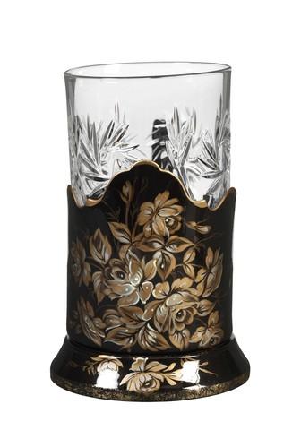 带艺术绘画的水晶玻璃杯+杯托 PODS25102018D007