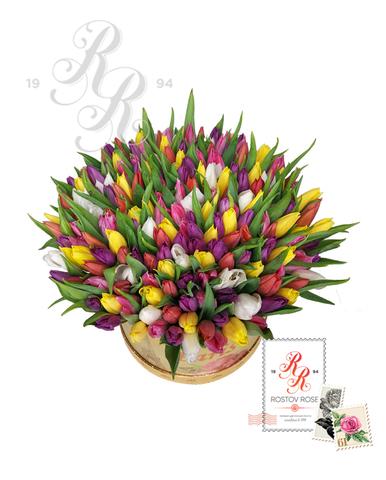 Тюльпаны микс в коробке