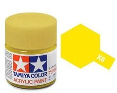 X-8 Краска Tamiya, Желтый Лимон Глянцевый (Lemon Yellow), акрил 10мл