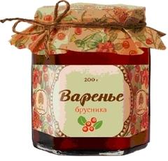 Варенье, Сибирский Кедр, из брусники, 200 г.