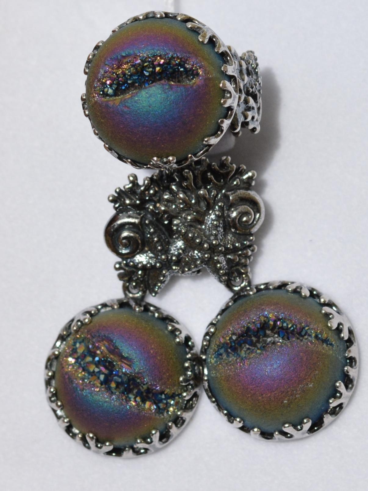 Жеода (кольцо + серьги из серебра)
