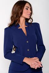 Приталенный жакет на пуговицах отлично сочетается с классическими брюками на резинке. Незаменимая вещь в гардеробе деловой дамы. Длина: 44-52р Пиджак: 57-60см, рукав 60см Брюки: 97-102см