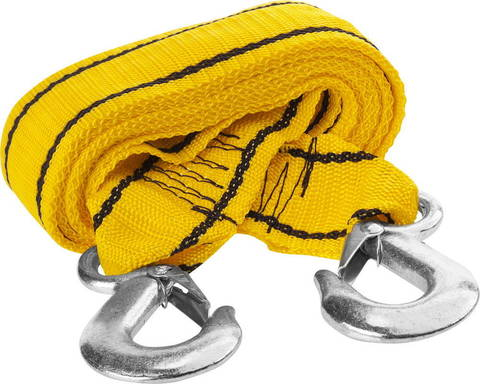 Трос буксировочный STAYER STANDARD, 2 крюка, сумка, 4м, 5т