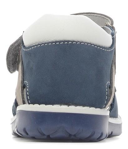 Детские сандалии Котофей 422050-21 из натуральной кожи, для мальчика, синий-серый-белый. Изображение 4 из 5.