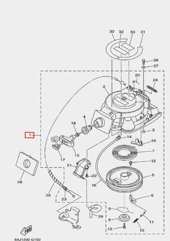Стартер ручной в сборе для лодочного мотора F20 Sea-PRO (10-1)
