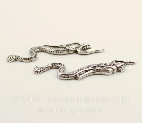 """Винтажный декоративный элемент - Пара штампов """"Два дракона"""" 39х12 мм (оксид серебра)"""