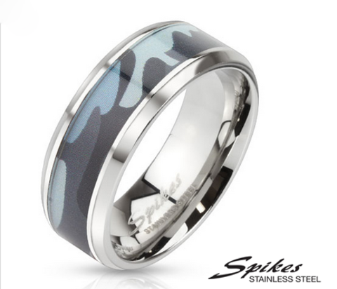 Мужское кольцо «Spikes» из ювелирной стали («Камуфляж»)
