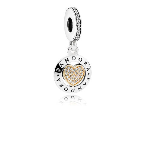PANDORA Signature Heart, Clear CZ, позолота