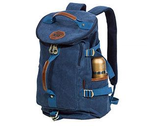BAG368-3 Мужская сумка рюкзак - трансформер из ткани синего цвета
