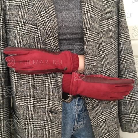 Женские перчатки Touch для сенсорных экранов на указательном пальце Бордовые Классика