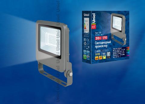 ULF-F17-20W/DW IP65 195-240В SILVER Прожектор светодиодный. Дневной свет (6500K). Корпус серебристый. TM Uniel.