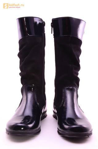 Сапоги для девочек из натуральной кожи и велюра на байковой подкладке Лель (LEL), цвет черный. Изображение 5 из 12.