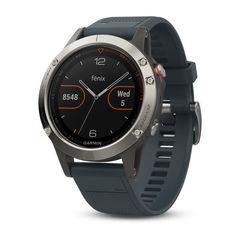 Умные мужские спортивные часы Garmin Fenix 5 - серебристые с синим ремешком 010-01688-01