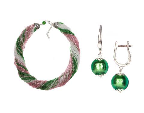 Комплект украшений розово-зеленый №3 (серьги-бусины, ожерелье из бисера 48 нитей)