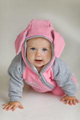Лапушка. Комплект кофточка и штаны из капитония Зайка, розовый вид 3
