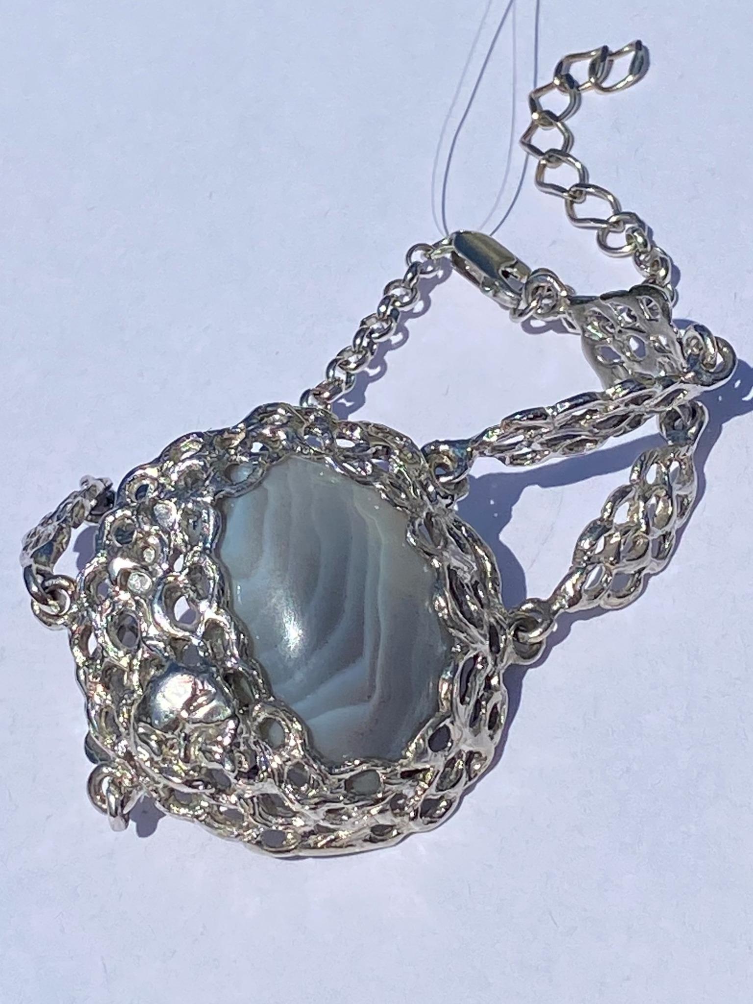Агат мор (браслет из серебра)
