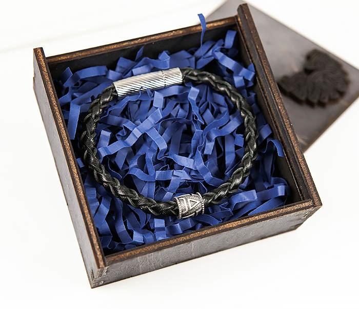 BSS126 Браслет из шнура ручной работы с серебряной бусиной «Велес» фото 02