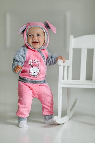 Лапушка. Комплект кофточка и штаны из капитония Зайка, розовый