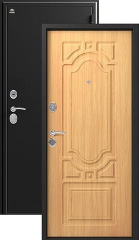 Дверь входная Сибирь S-7, 2 замка, 1 мм  металл, (чёрный шёлк+миланский орех)