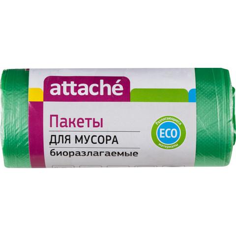 Мешки для мусора ПНД 30л 50x60см 10мкм зеленые 30шт/рул биоразлаг Attache