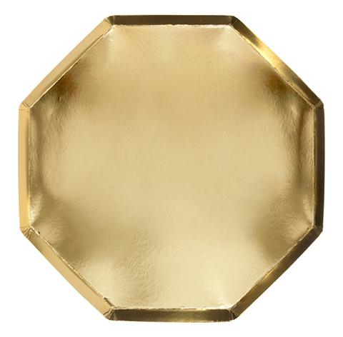 Большие золотые восьмиугольные тарелки