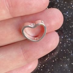 Бусина Сердце 13,5х12,5 мм серебро 925