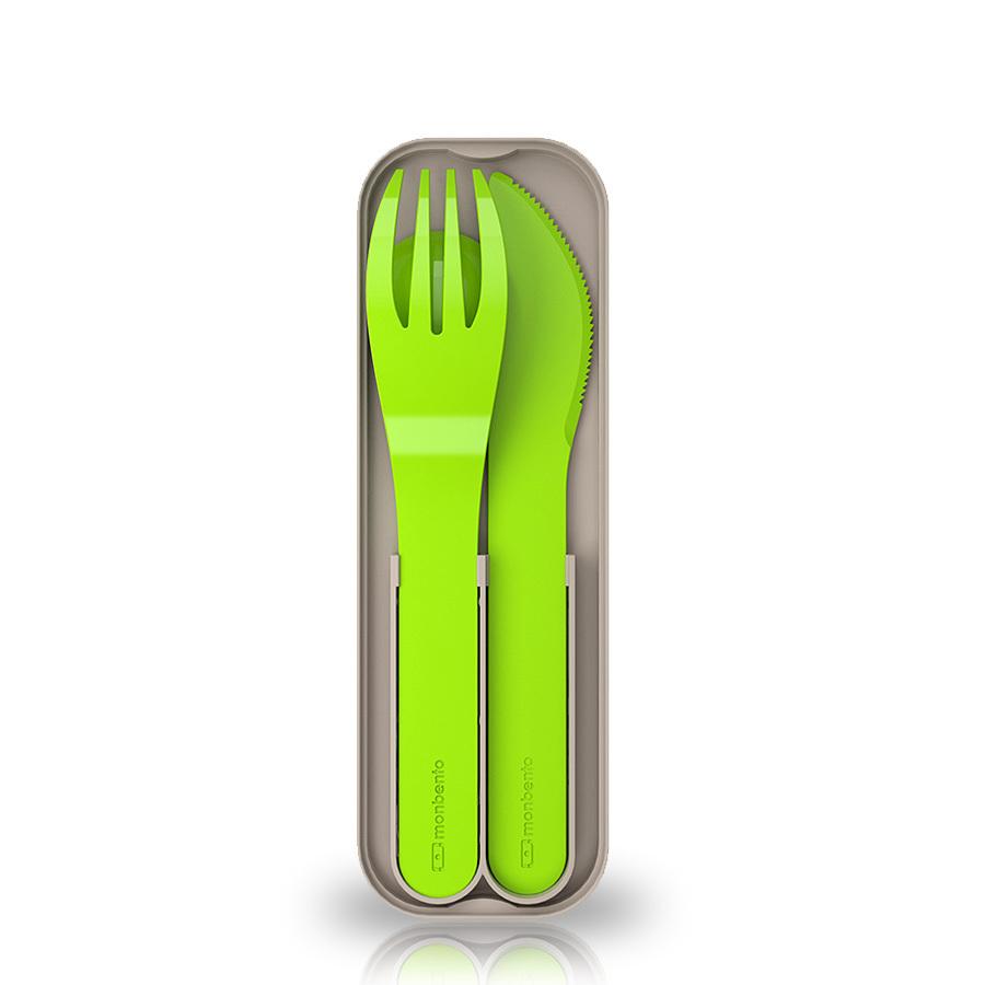 Набор из 3 столовых приборов в футляре Monbento Pocket color зеленый
