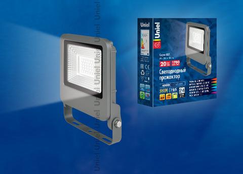 ULF-F17-20W/NW IP65 195-240В SILVER Прожектор светодиодный. Белый свет (4000K). Корпус серебристый. TM Uniel.