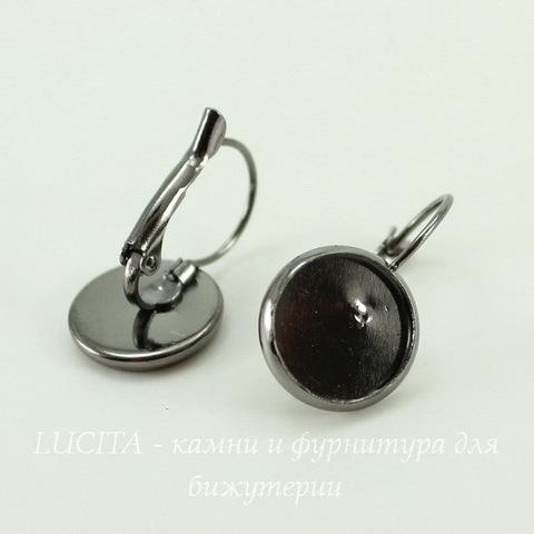 Швензы с французским замком с сеттингом для кабошона 12 мм, 25х14 мм (цвет - черный никель)