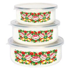 Набор 3 штуки (400 мл, 700 мл, 1000 мл) эмалированных салатников с пластиковыми крышками EM-00003A/52