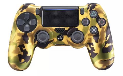 PS4 Чехол для геймпада DualShock 4 (золотой перламутр камуфляж, накладки + наклейка)