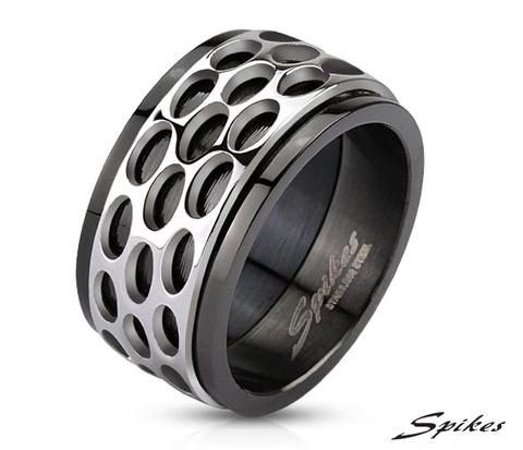 R-M2804 Широкое мужское кольцо черного цвета, центральная часть вращается, &#34Spikes&#34